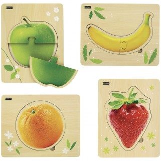 Puzzles bois Fruits par 4